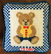 Boy Teddy Needlepoint Design which you can buy online from All Stitched Up